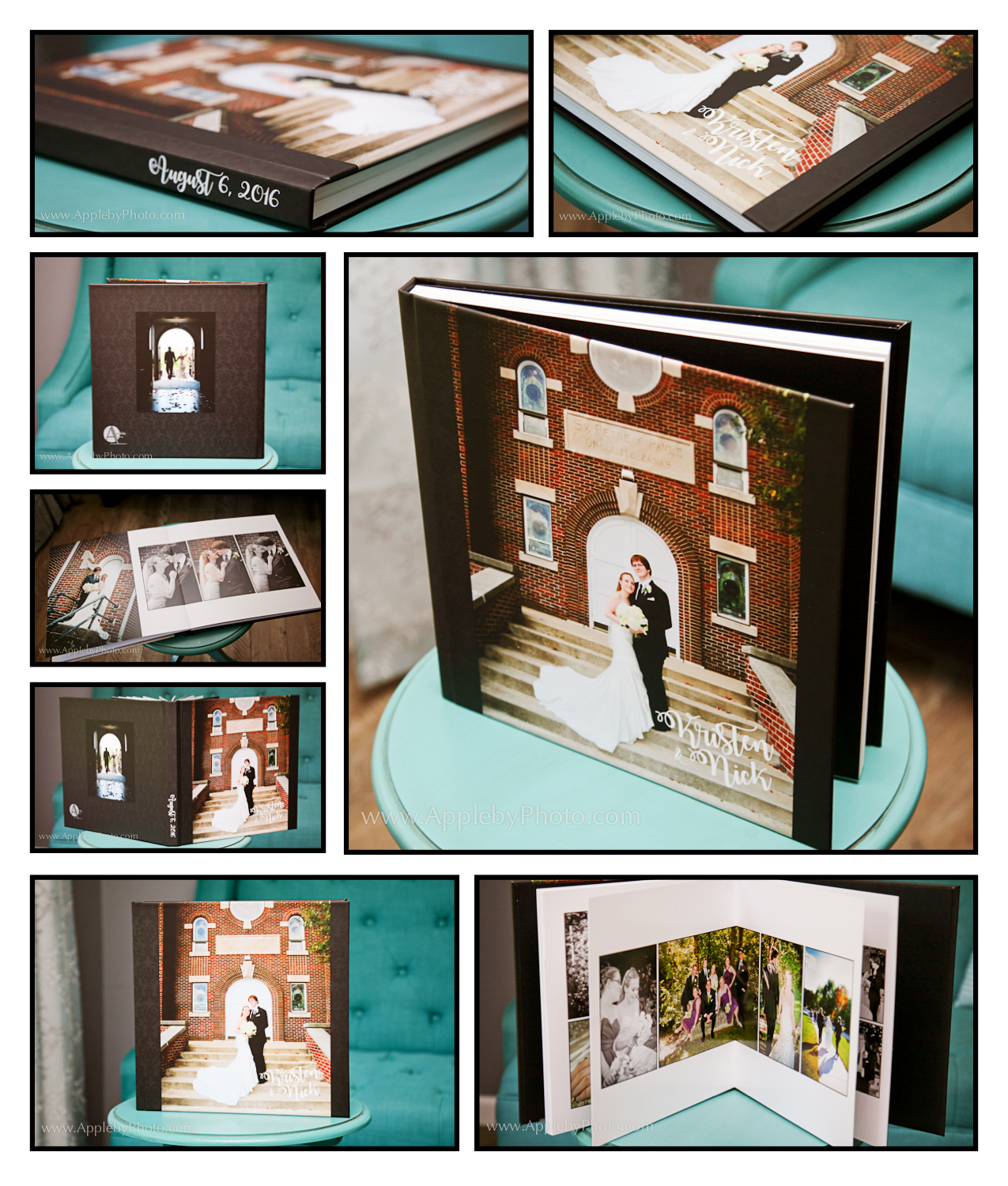 wedding album detail of cover and pages