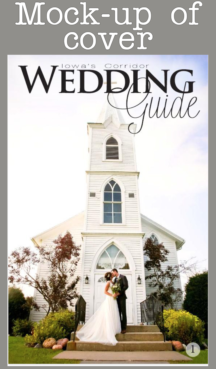 cover of iowa corridor wedding guide with image of bride and groom in front of church